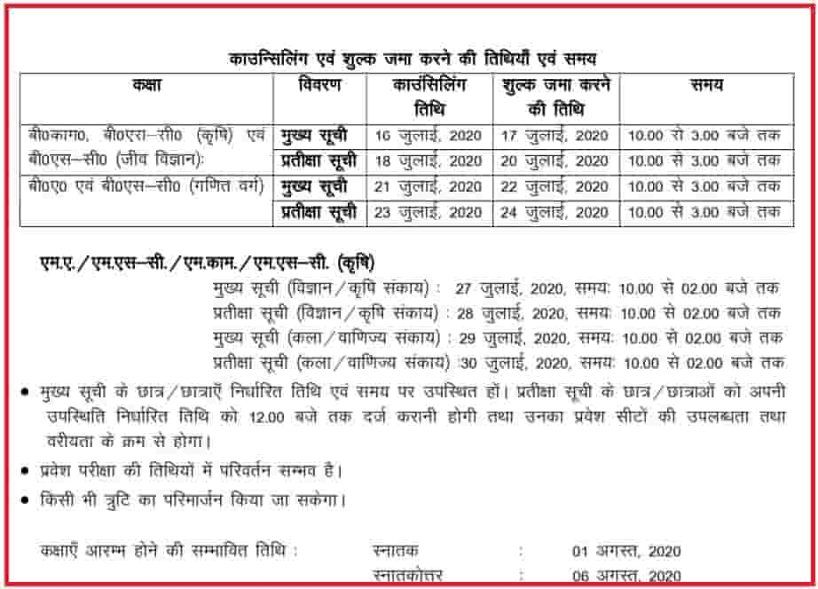 Uday Pratap College Admission Counselling 2020 Date